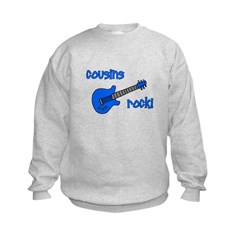 Cousins Rock! Blue Guitar Kids Sweatshirt