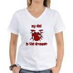 My Dad is the Drummer (drums) Women's V-Neck T-Shi