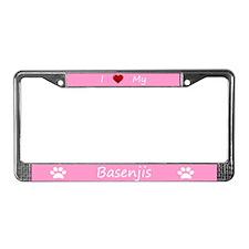 Pink I Love My Basenjis License Plate Frame