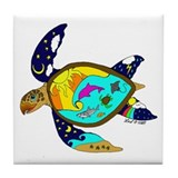 Earth Day Sea Turtle Tile Coaster