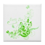 Earth Day Swirls Tile Coaster