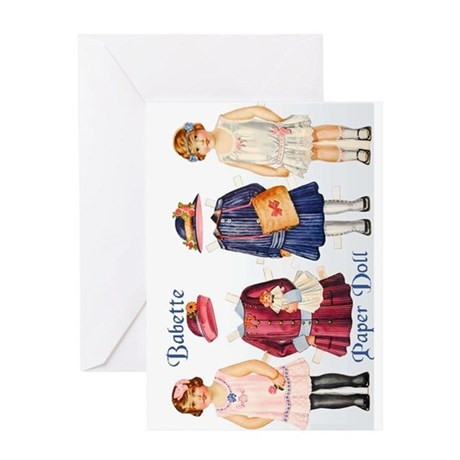 Antique Paper Doll BABETTE Greeting Card