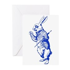 White Rabbit Blue Greeting Cards (Pk of 20)