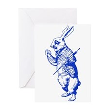 White Rabbit Blue Greeting Card