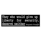 Ben Franklin Quote Bumper Bumper Sticker
