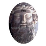 Humorous Greek Beer Quote Oval Ornament