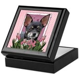 Pink Tulips - Chihuahua Keepsake Box