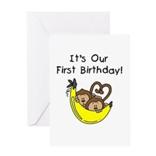 Twin Boys 1st Birthday Greeting Card