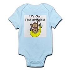 Twin Boy and Girl 1st Birthday Infant Bodysuit