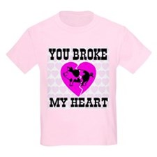 You Broke My Heart Pig Pretty Kids T-Shirt