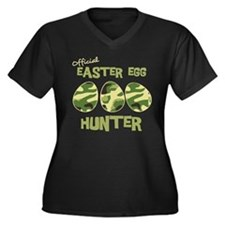 Easter Egg Hunter Women's Plus Size V-Neck Dark T-