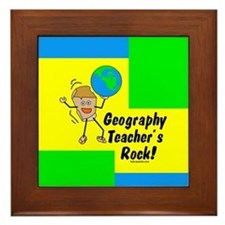 Geography Teacher's Rock Framed Tile