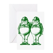 Tweedle Twins Green Greeting Card