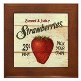 Pick Your Own Strawberries Framed Tile