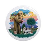 St Francis #2/ Shih Tzus (4) Ornament (Round)