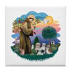 St Francis #2/ Shih Tzus (4) Tile Coaster