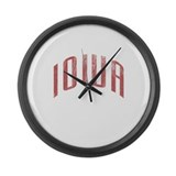 Iowa Grunge Large Wall Clock