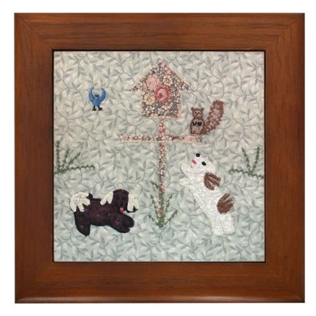 At the Bird Feeder Framed Tile