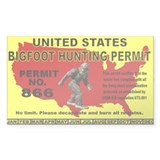 Bigfoot Hunting License Bumper Stickers
