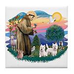 St Francis #2 / Westies (2) Tile Coaster