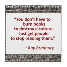 Bradbury on Books Tile Coaster
