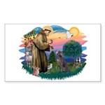 St Francis #2/ Weimaraner #1 Sticker (Rectangle 10