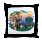 St Francis #2/ Poodle (Toy blk) Throw Pillow