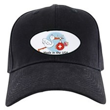 Stork Baby Switzerland USA Baseball Hat