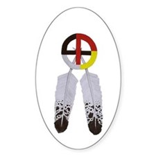 Medicine Wheel w/ Feathers Oval Decal