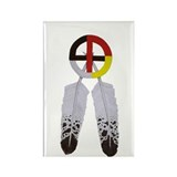 Medicine Wheel w/ Feathers Rectangle Magnet (100 p