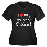 2nd Grade Class: Women's Plus Size V-Neck Dark T-S