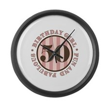Fun & Fabulous 50th Birthday Large Wall Clock