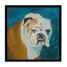 Tile Coaster with English Bulldog
