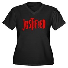 Justified Women's Plus Size V-Neck Dark T-Shirt