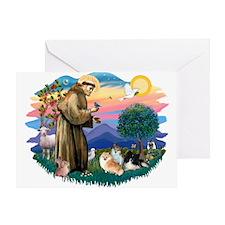 St Francis #2/Pomeranians(3) Greeting Card
