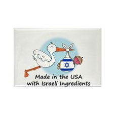 Stork Baby Israel USA Rectangle Magnet