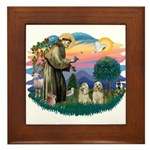St Francis #2/ Cockers(2 buff) Framed Tile