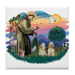 St Francis #2/ Cockers(2 buff) Tile Coaster
