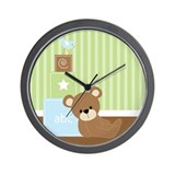 Green Baby Bear Wall Clock