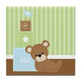 Green Baby Bear Tile Coaster