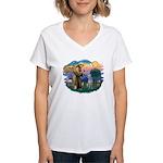 St Francis #2/ S Deer. #2 Women's V-Neck T-Shirt