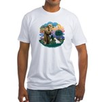 St Francis #2/ Sealyham T Fitted T-Shirt