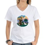 St Francis #2/ Sealyham T Women's V-Neck T-Shirt