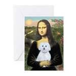 Mona Lisa / Maltese (B) Greeting Cards (Pk of 10)