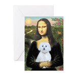 Mona Lisa / Maltese (B) Greeting Cards (Pk of 20)