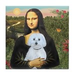 Mona Lisa / Maltese (B) Tile Coaster