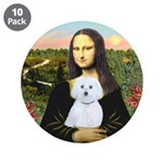 "Mona Lisa / Maltese (B) 3.5"" Button (10 pack)"