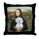 Mona Lisa / Maltese (B) Throw Pillow
