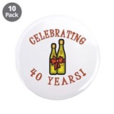 "40th Anniversary Wine Bow 3.5"" Button (10 pack)"