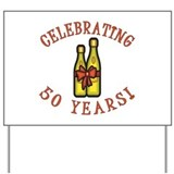 50th Anniversary Wine Bow Yard Sign